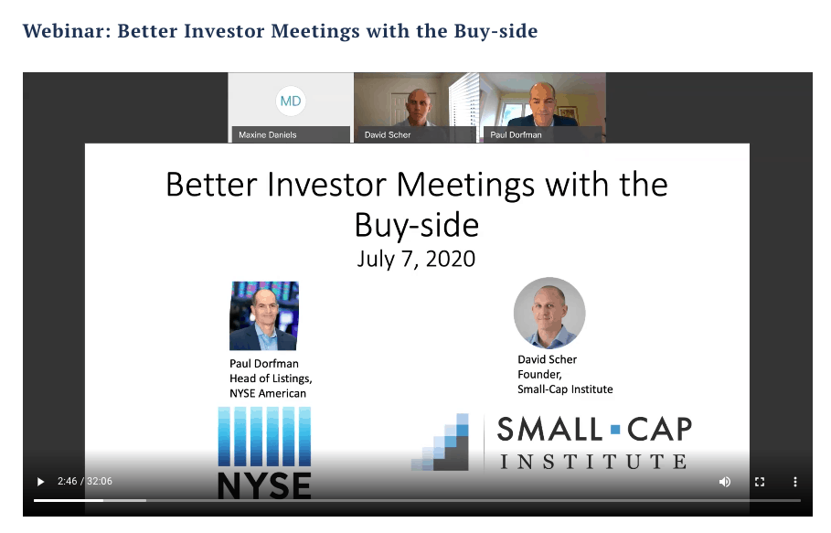 Webinar: Better Investor Meetings with the Buy-side